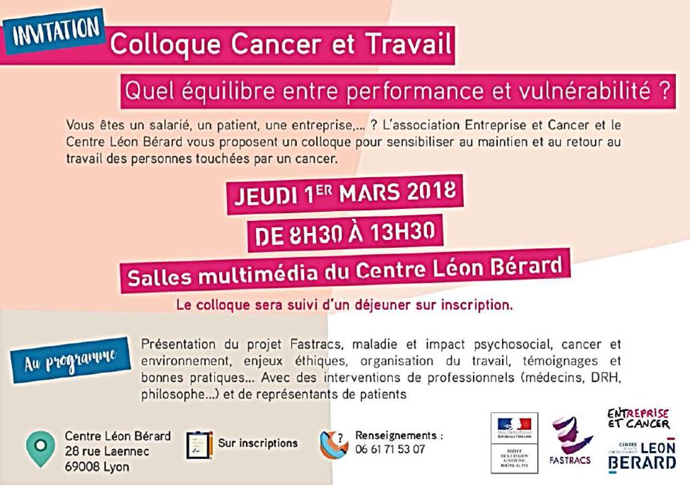 """Colloque """"Cancer & Travail"""" à Lyon"""